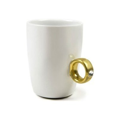 Inspirational Coffee Mugs 2Carat Cup Gold Diamond Ring Cup