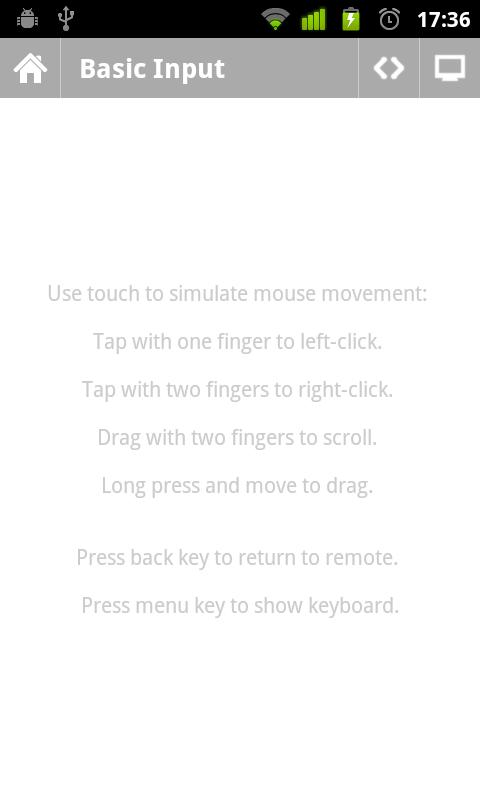 Unified Remote Control Basic Input View