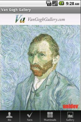 Van Gogh Gallery Android App Painting Menu