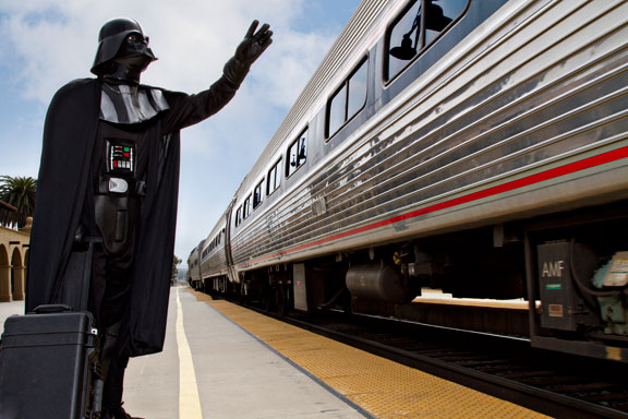 Darth Vader takes train