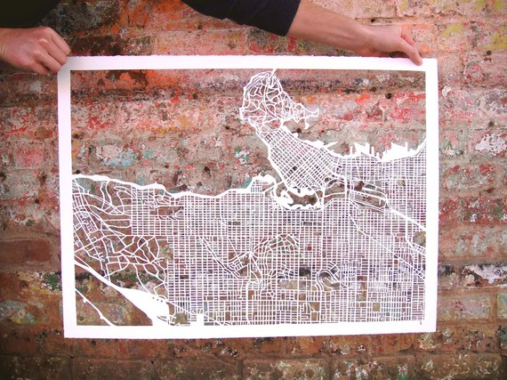Cut-out Street Map Of Vancouver