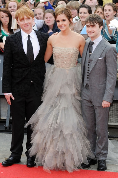 Daniel Radcliffe Wearing Simon Spurr Rupert Grint Elegant Outfit at the Deathly Hallows Premiere