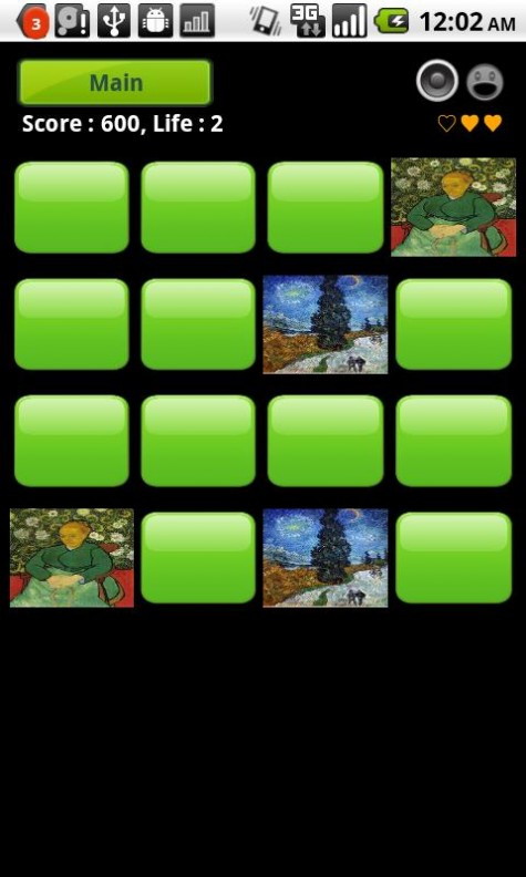 Van Gogh Gallery and Puzzle Memory Game Screenshot