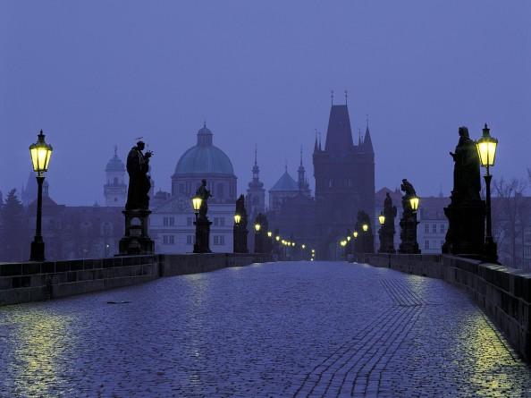 Charles Bridge in Prague at Dusk