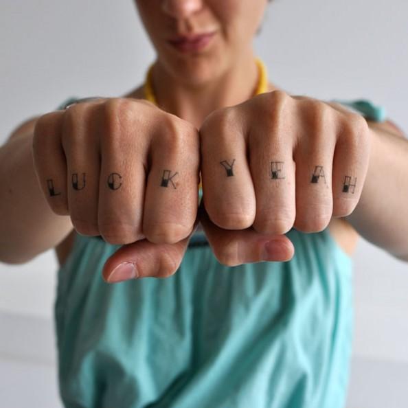 temporary tatoo knucks luck yeah