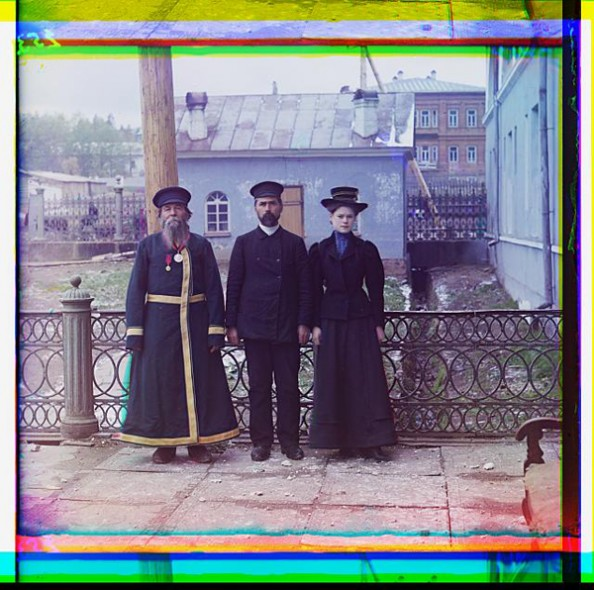 100 Years Old Color Photos of the Russian Empire Three Generation of Workers at the Zlatoust Plant