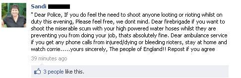 Viral Facebook Message London Riots