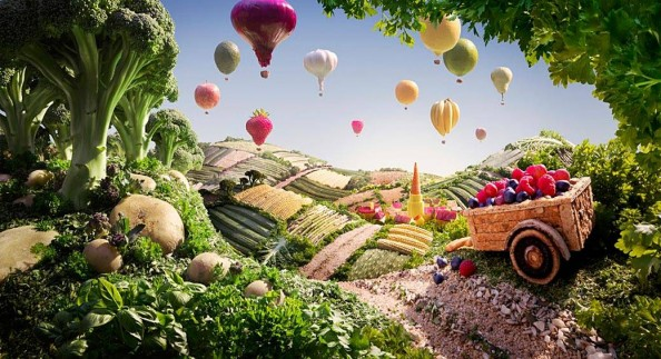Food Landscapes Cart and Balloons by Carl Warner