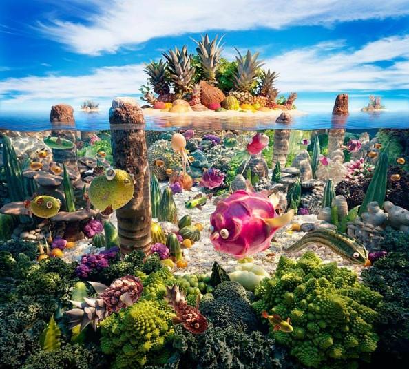 Food Landscapes Coral by Carl Warner