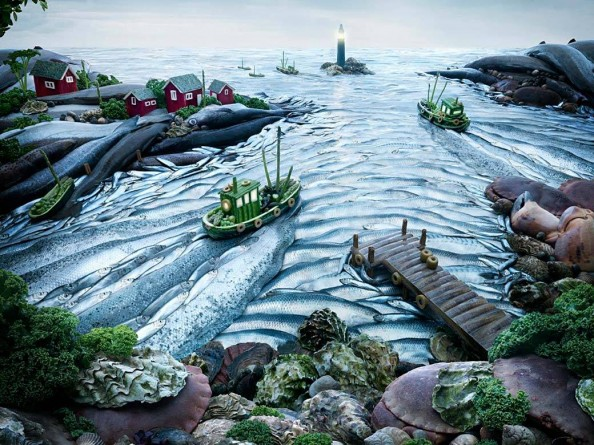Food Landscape Harbor by the Sea by Carl Warner