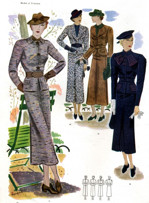 French Women Fashion in the 30s Coats and Hats