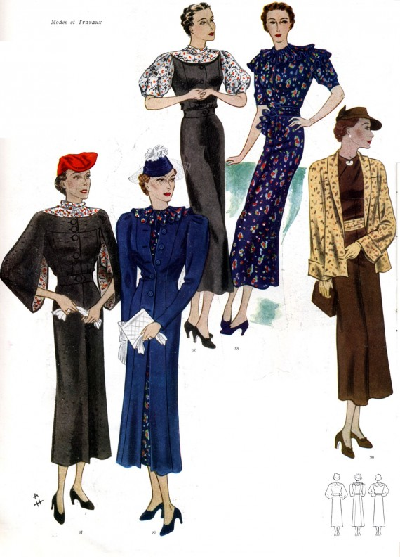 French Women Fashion in the 30s Gowns