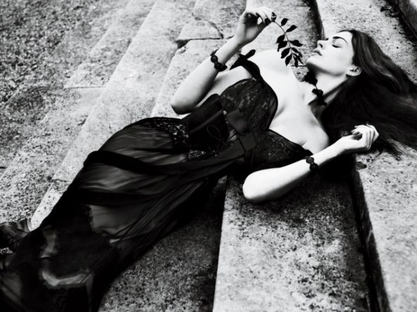 Gothic Anne Hathaway Interview Magazine Wearing Dolce & Gabbana Dress