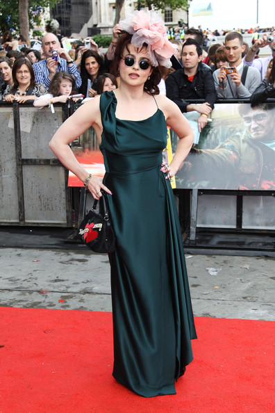 Helena Bonham Carter Wearing Elegant Gown and Pink Flowery Headpiece at the Deathly Hallows Premiere