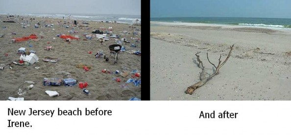 Hurricane Irene New Jersey Beach Before and After