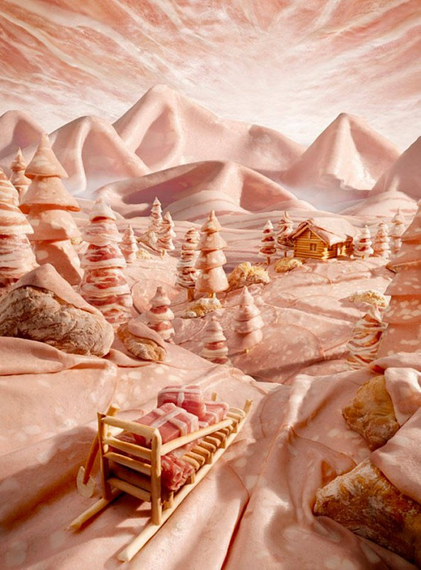 Food Landscapes Salami Mountain by Carl Warner