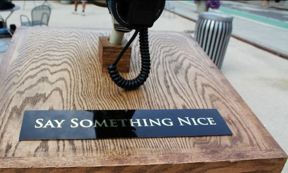 Say Something Nice Sign in New York Union Square