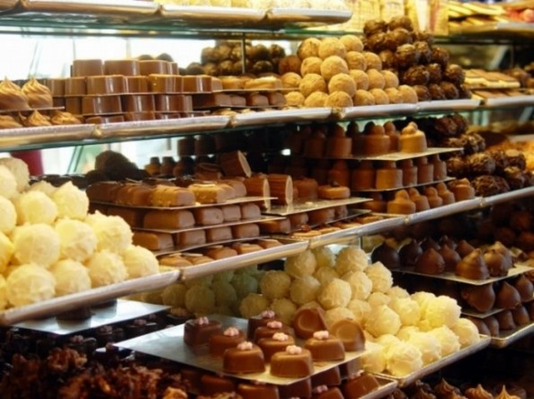 Shelves with Pralines in Brussels Sweets Shop