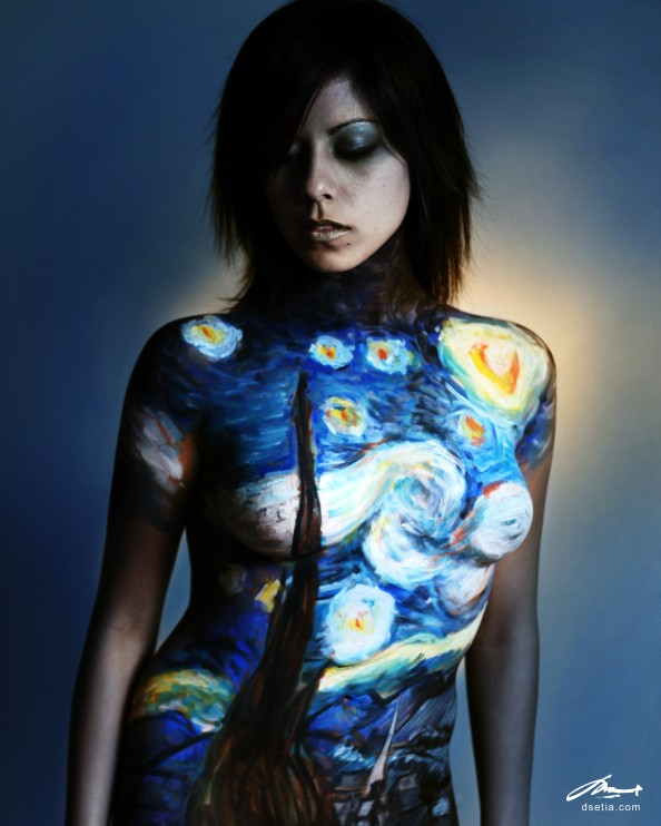 Starry Night by Van Gogh Body Painting by Danny Setiawan