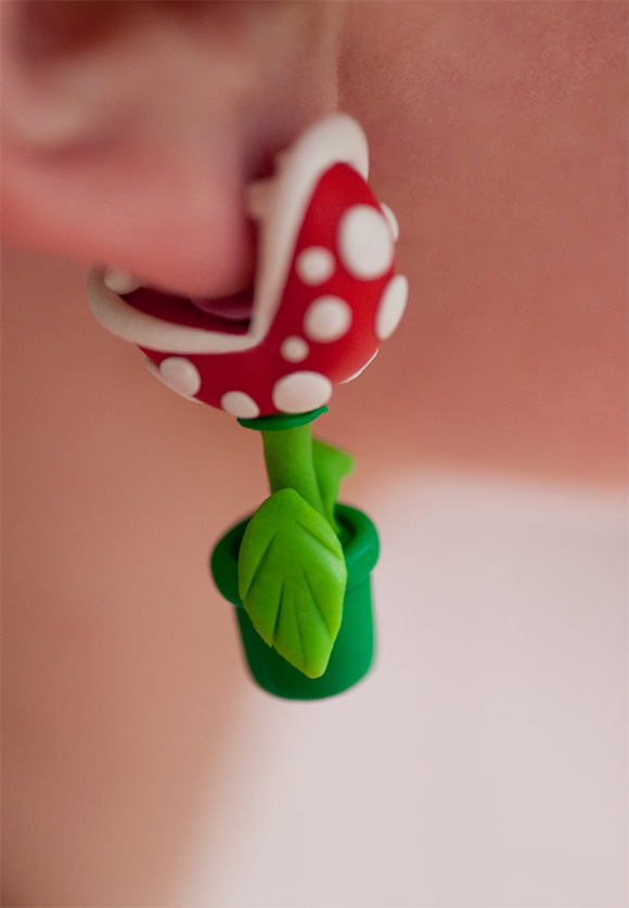 Super Mario Piranha Plant Earrings Closeup