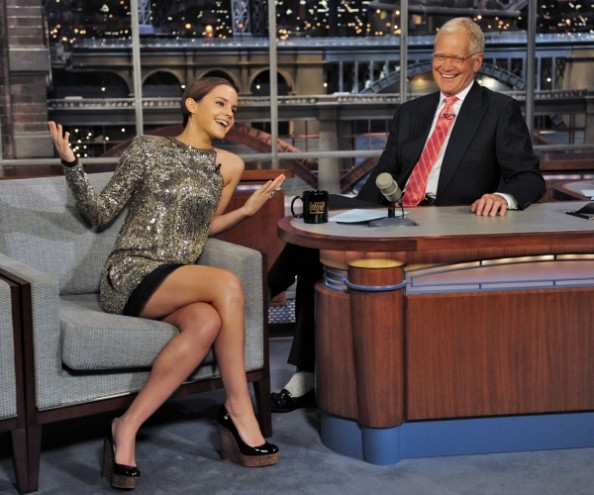 Emma Watson Wearing Balmain at David Letterman Late Show