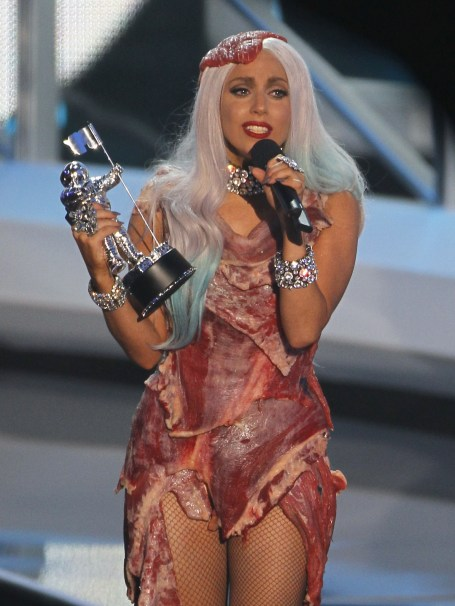 Lady Gaga raw meet dress 2010