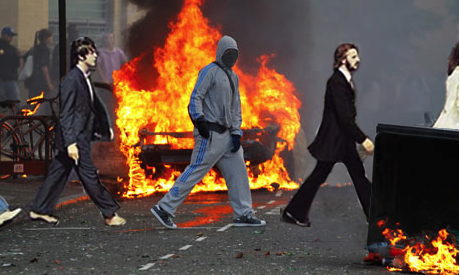 London Rioter Beatles Album Cover Spoof