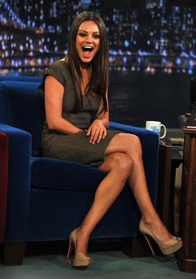 Mila Kunis Wearing Roland Mouret Dress and Christian Louboutin Shoes at Jimmy Fallon