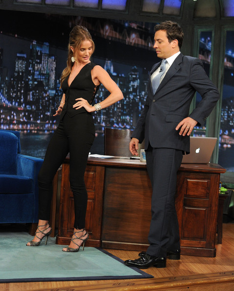 Rosie Huntington-Whiteley wearing Dolce and Gabbana at Jimmy Fallon