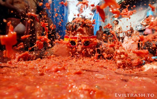 Tomatina Throwing Tomatoes Festival Spain Bunol Valencia 15