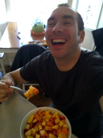 Men Laughing With Salad