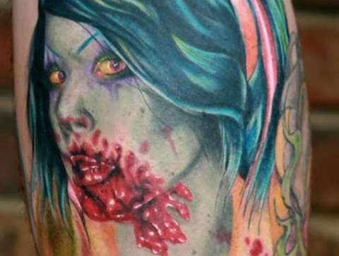 Zombies Monsters Tattoos Halloween Blood Woman