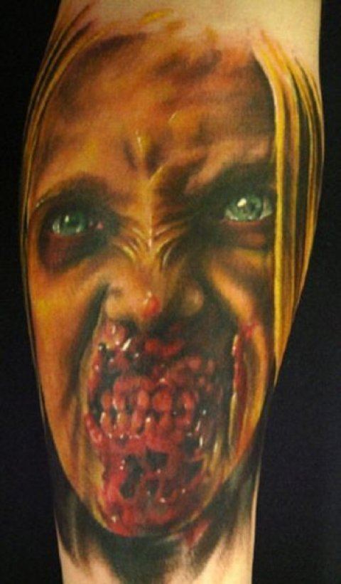 Zombies Monsters Tattoos Halloween Bloody Teeth