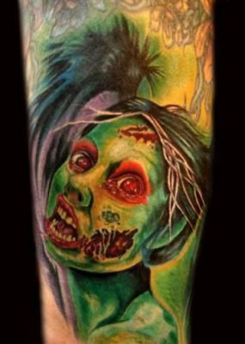 Zombies Monsters Tattoos Halloween Green Face