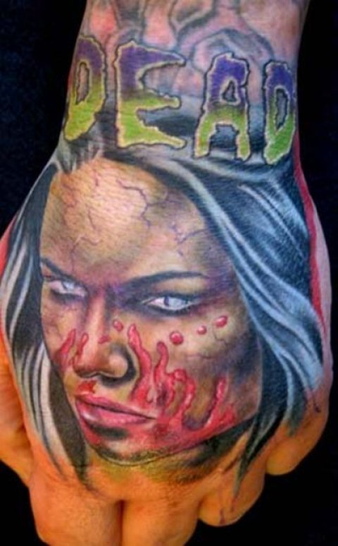 Zombies Monsters Tattoos Halloween Woman Blue Hair