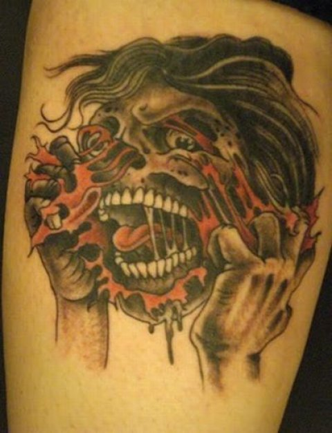 freaky zombie tattoos for halloween mole empire. Black Bedroom Furniture Sets. Home Design Ideas