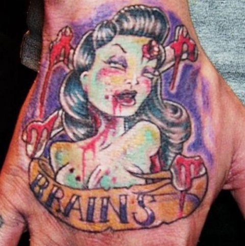 Zombies Monsters Tattoos Halloween Brains