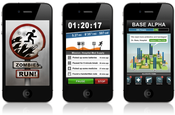 Zombies Run Fitness Running App for Iphone and Android