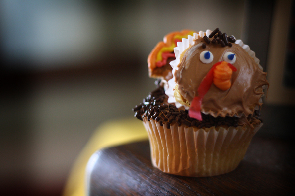 Thanksgiving Lonely Turkey Cupcake