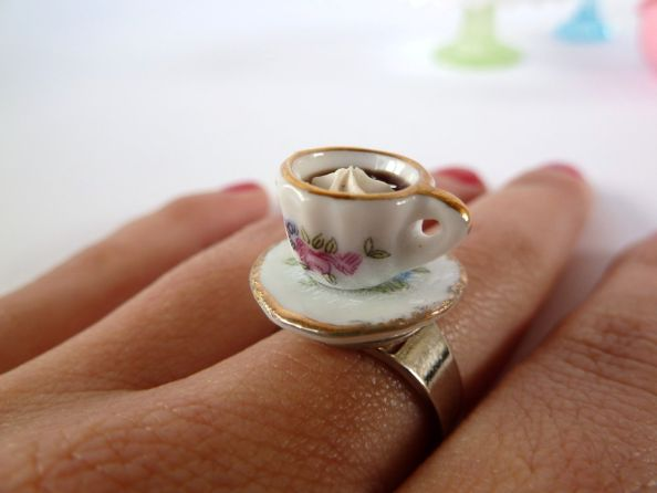 Alice In Wonderland Coffee Cup Ring