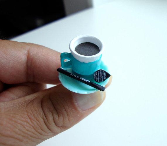 Blue Coffee Mug with Cream and Sugar Ring
