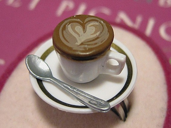 Latte Coffee Cup Handmade Ring