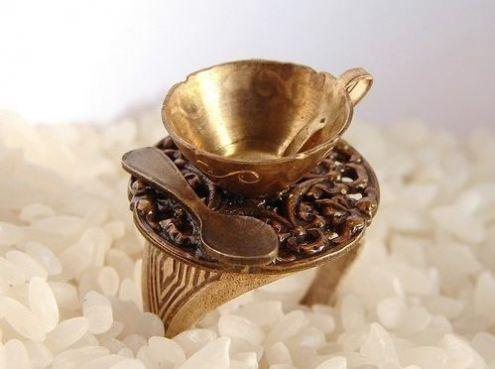 Old Metalic Coffee Cup  Ring