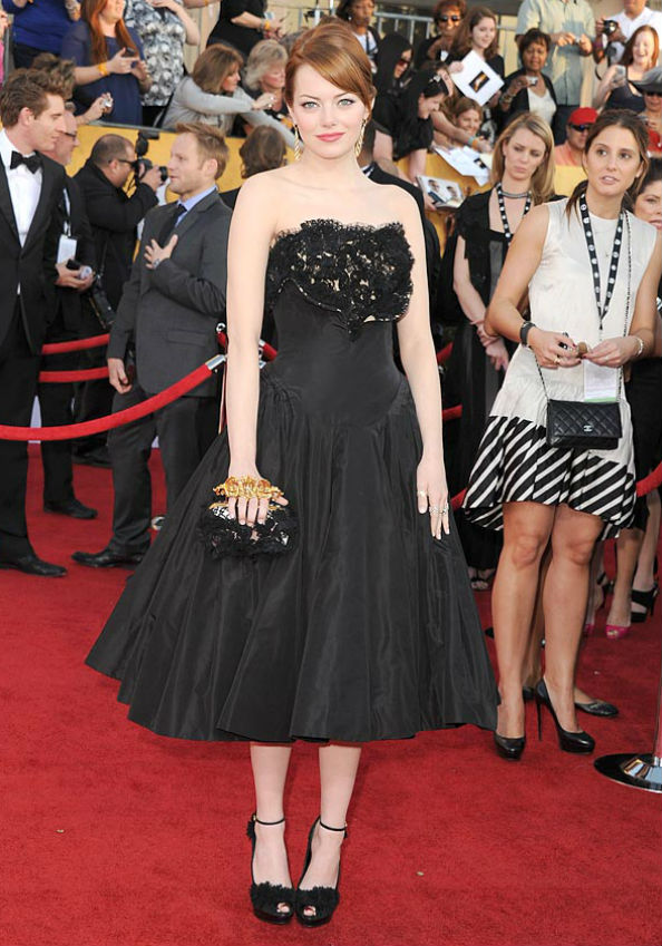 Emma Stone Wearing Alexander McQueen at the 2012 SAG Awards