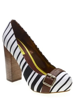Monochrome Striped Block Heel Court Shoe
