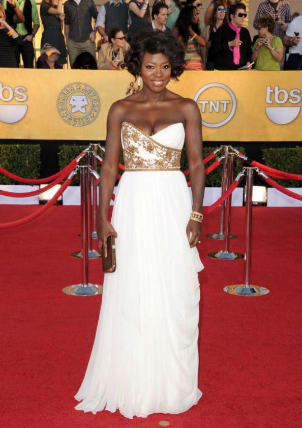 Viola Davis Wearing Marchesa at the 2012 SAG Awards