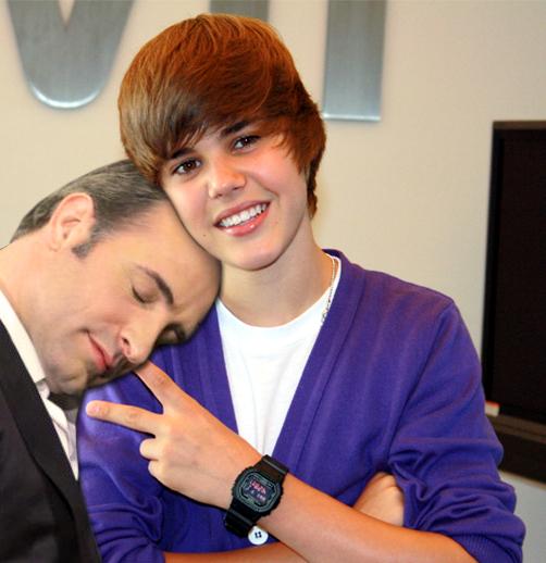 Jean Dujardin and Justin Bieber