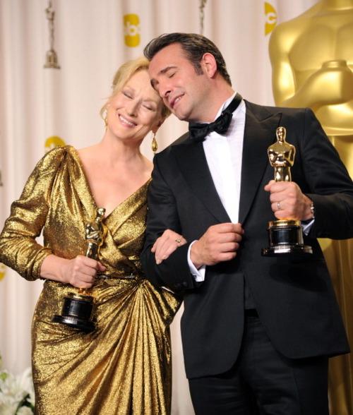 Meryl Streep and Jean Dujardin at The 2012 Academy Awards