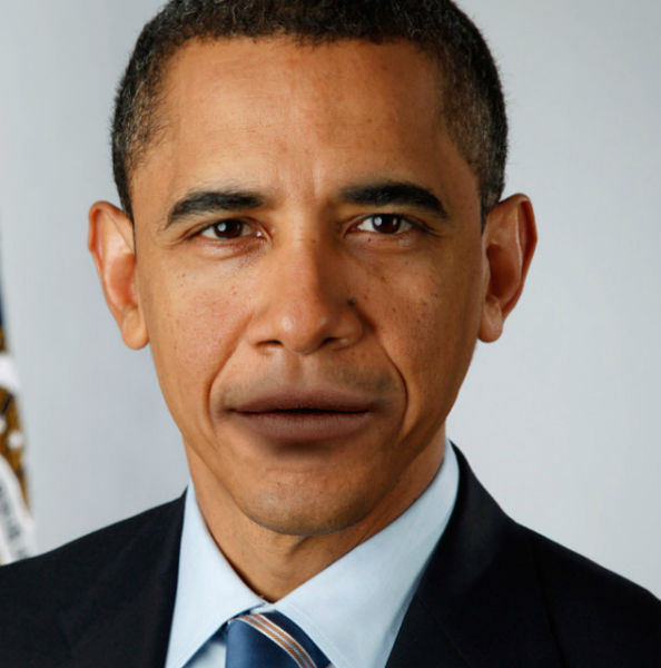 Obama with Lana Del Rey lips