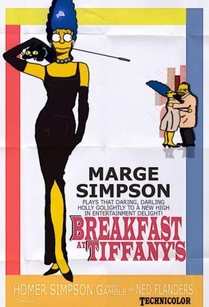 Simpsons Characters in Movie Posters Breakfast